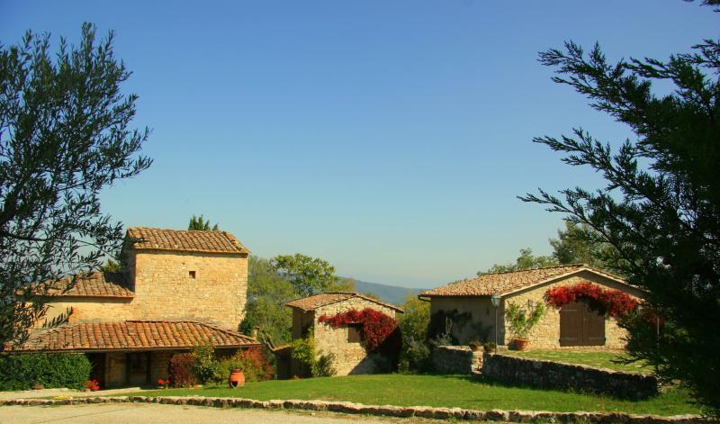 Main view - the farmhouse and 2 cottages - Ripertoli, Greve in Chianti, Tuscany, Italy - Greve in Chianti - rentals
