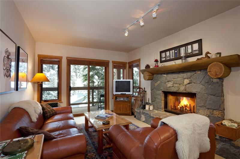Cozy Living Room with Wood Burning Fireplace, Flat Screen TV (not pictured) - Taluswood 9 | Whistler Platinum | Fireplace - Whistler - rentals
