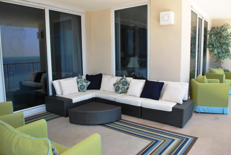 wrap around balcony with sectional sofa hello sunrise with coffe sunset with wine - Where leisure meets luxury.4 bdrm  west end unit! - Panama City Beach - rentals