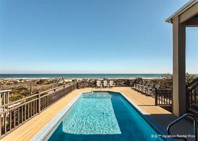 Water, water everywhere! The pool and beach at Rainbow Cay. - Rainbow Cay, Beach Front, 4 Bedroom, Private Pool - Saint Augustine - rentals