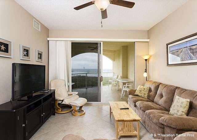 Unwind in the ultra comfy living room of Surf Club 1405 - Surf Club 1405, Ocean Front, 4th floor, 3 Pools, Tennis - Palm Coast - rentals