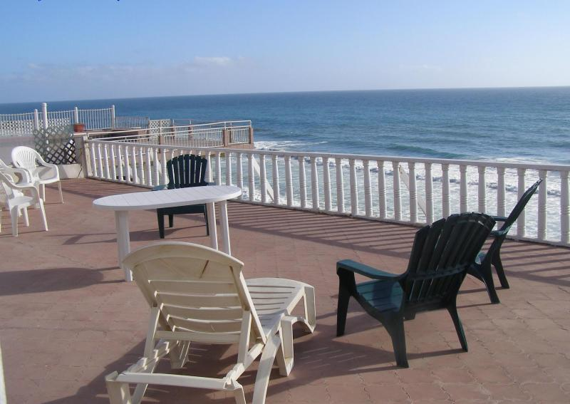 Pation directly above beach & open to ocean - Fabulous Ocean Front Mexican Colonial Home - Rosarito Beach - rentals
