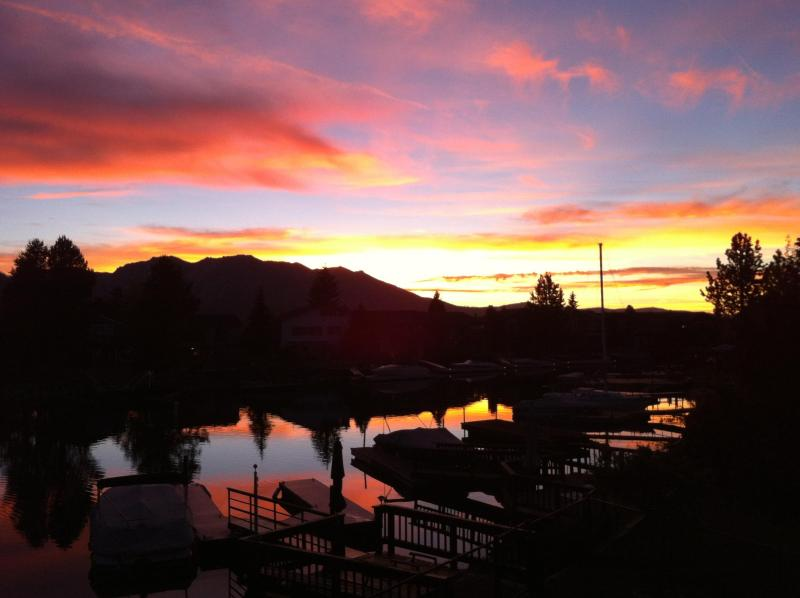Summer sunset from the main balcony - Tahoe Keys Waterfront~huge spa, dock in backyard - South Lake Tahoe - rentals