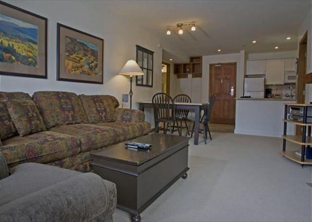 Living Area - Aspens, prime ski-in, ski-out, 2 bdrm with BBQ & bright, pool view - Whistler - rentals