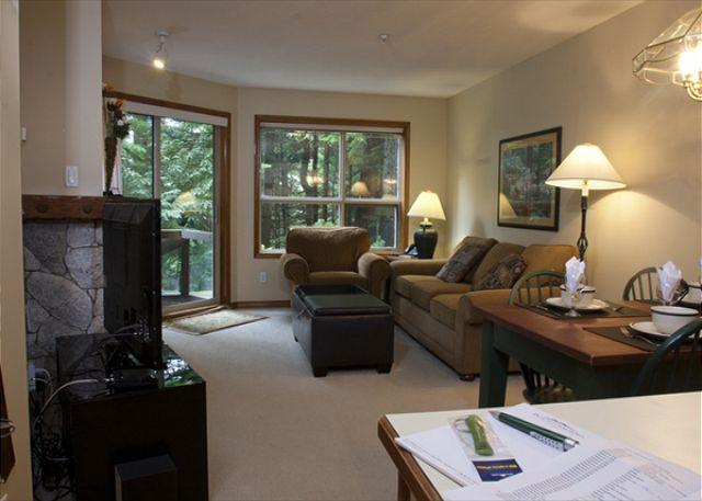 Living Area - Aspens, prime ski-in, ski-out, 1 bdrm with serene forest view - Whistler - rentals