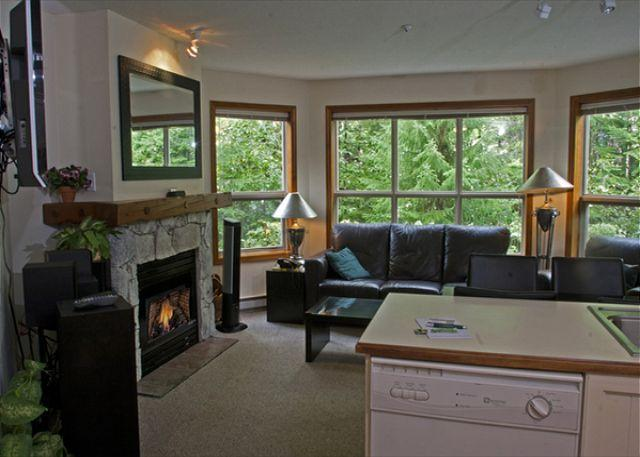 Living Area - Aspens, prime ski-in, ski-out, 2 bdrm with serene forest view - Whistler - rentals