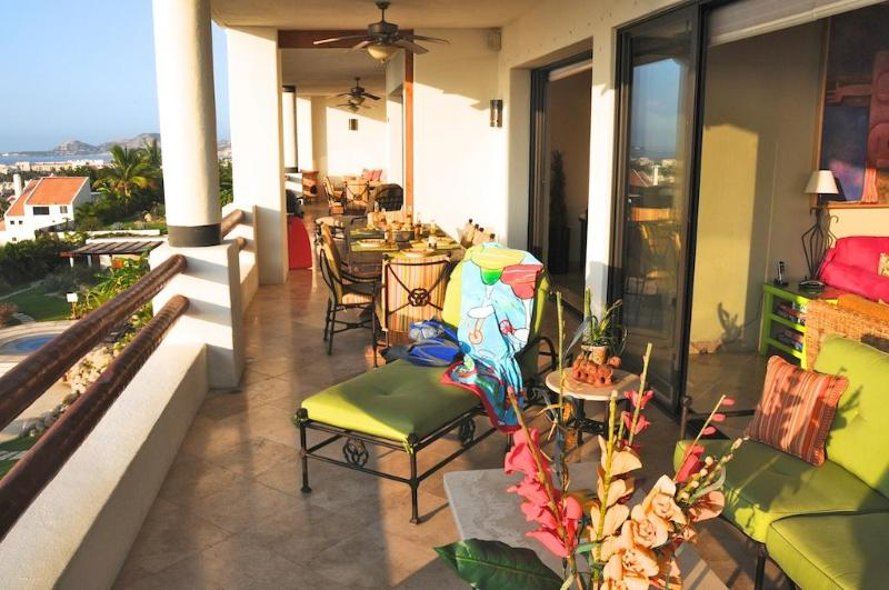 Covered 73' terrace for dining, reading, cocktails, and siestas - Perfect for Birthday Groups and Family Reunions! - San Jose Del Cabo - rentals