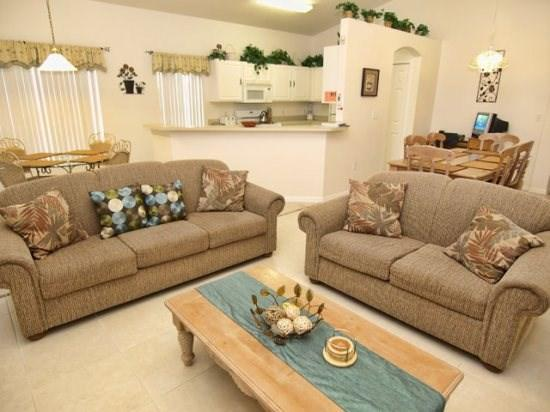 Living Area - BWC4P234HBD Beautiful 4 BR Pool Home with High Standard Amenities - Davenport - rentals