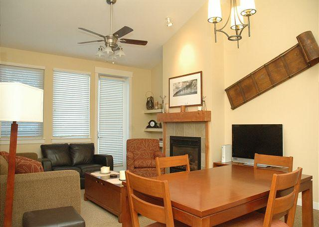 Living and Dining Room - Walk to the slopes from this Founders Point two bedroom with AWESOME views!! - Winter Park - rentals