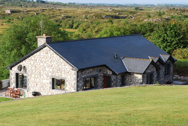 Looking at the house and bog beyond from the main house - Luxury four bedroom home on Lough Cullin, Co. Mayo - Foxford - rentals