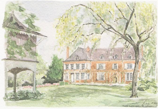 Chateau de Villers. An aquarel impression of the estate - Huntinglodge I/Exclusive access to castlepark&pool - Sainte-Menehould - rentals