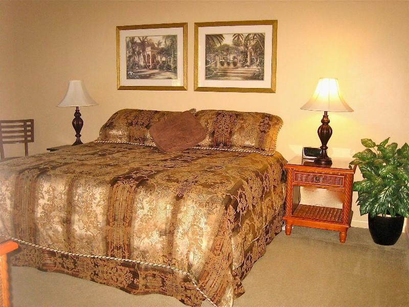 Master bedroom with king bed, lake view & desk for your computer - TurtleCove A+Rated Villa Near IMG-Excellence Award - Bradenton - rentals
