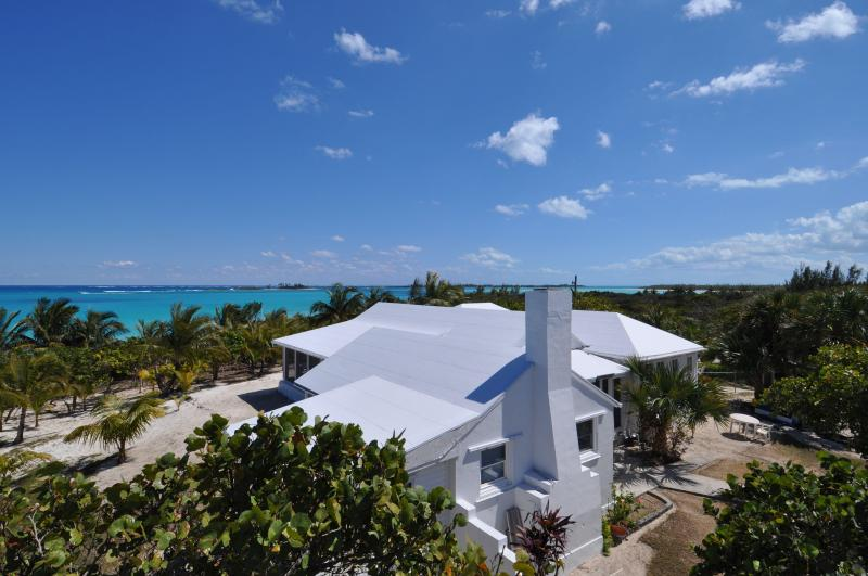 Aerial of Log Bay House - Long Bay House Beautiful Beachfront 3 bedroom home - Green Turtle Cay - rentals