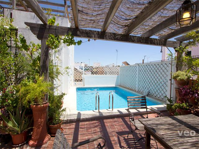 The lower of the two terraces has a good sized pool: 6m x 4m, depth 1.60m - Miguel Terrace | 4 bedroom with terrace and pool - Seville - rentals