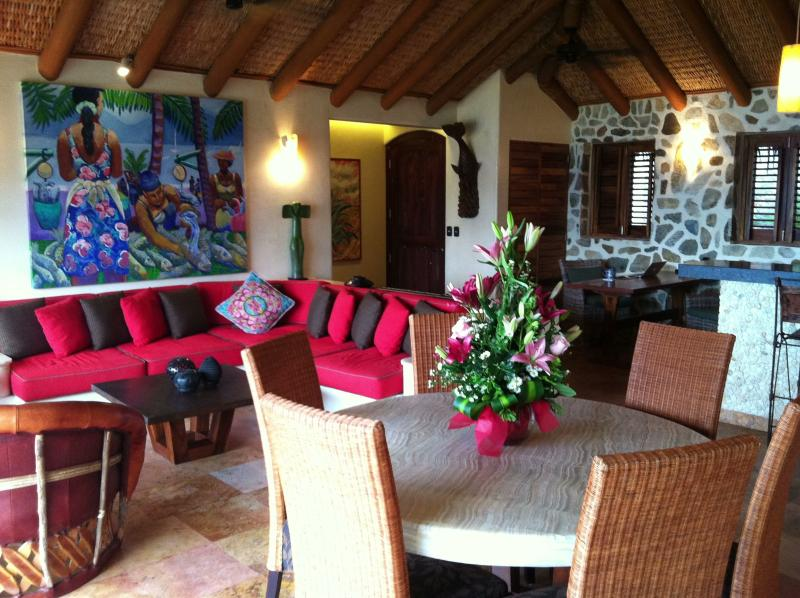 The grand salon with soaring palapa roof - (Every) room with a view.  Summer & Fall dates! - Zihuatanejo - rentals