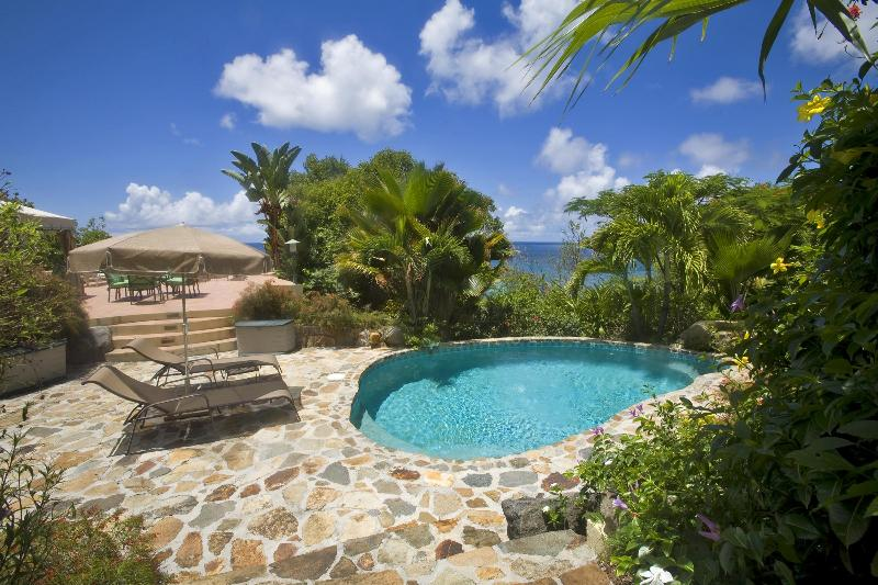 Views of the Dogs and Nail Bay from the pool at Sunset Watch Poolside Villa, Virgin Gorda. - 1 BR /Poolside / Steps from the Beach, Affordable! - Virgin Gorda - rentals