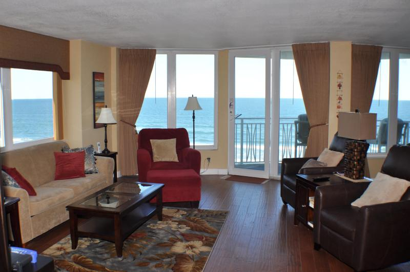 Spectacular ocean views from Living/Dining/Kitchen Areas - Direct Oceanfront 3 Bedroom Condo--No drive beach! - Daytona Beach Shores - rentals