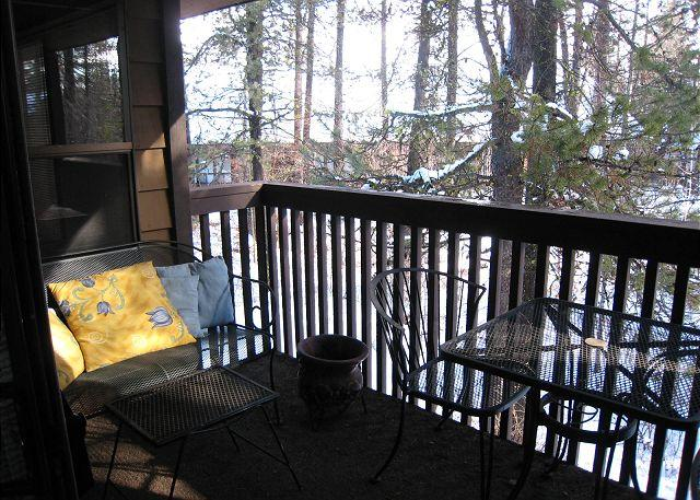 Balcony with forest view - Deluxe Aspen Condo close to town, Ponderosa Park and Golf Course - McCall - rentals