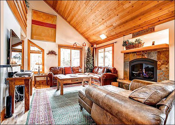 Open Living Room Boasts a Gas Fireplace, Flat-Screen TV, and Vaulted Ceilings - Newly Remodeled in 2012 - Hiking and Cross Country Skiing Steps Away (7015) - Breckenridge - rentals