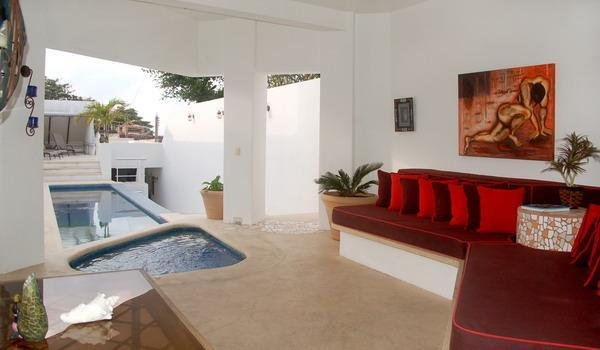 main living room w/view of integrated jettub and pool - CasaMel Luxury suites! Your Private Vacation Home! - Cozumel - rentals