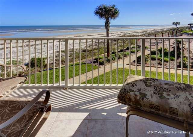 Enjoy sweeping ocean views from our balcony - Coquina A214, Luxury Ocean Front, 2 Pools,Tennis, HDTV, End Unit - Saint Augustine - rentals