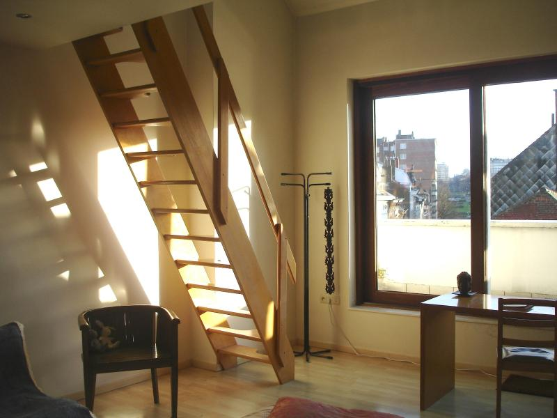 Stairs up to the mezzanine and terrace - Beautiful loft apt in period house near EU quarter - Brussels - rentals