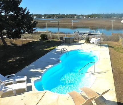 Private pool and dock on the inlet. - 5 Br, 4 Ba, Private Pool, Inlet View, Dock - Garden City Beach - rentals