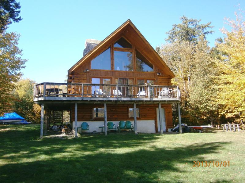 Frontal View from Shoreline - 3 bedroom Lakefront Log Chalet, Rangeley Maine - Rangeley - rentals