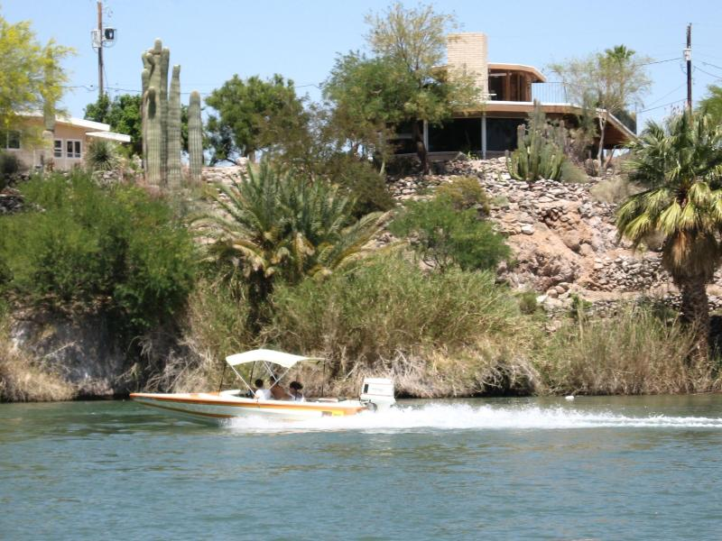 Looking at the house from the Colorado River - Showboat at Martinez Lake over looks Colorado River - Bard - rentals