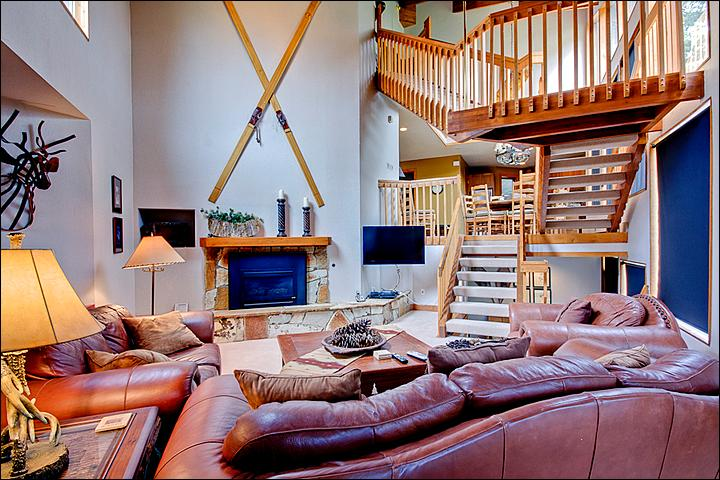 Spacious Living Room Features a Gas Fireplace and Flat-Screen TV - Designer Touches Throughout - Beautiful Slope and Mountain Views (24716) - Park City - rentals