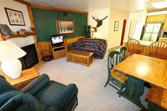 Spacious Living area with wood burning fireplace.   - Charming Mountain Condo Minutes From Snowbasin And Powder Mountain - Eden - rentals
