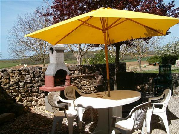 Rear patio dining and bbq - Farm Cottage, near La Tour Blanche,  Aquitaine, SW France - Verteillac - rentals