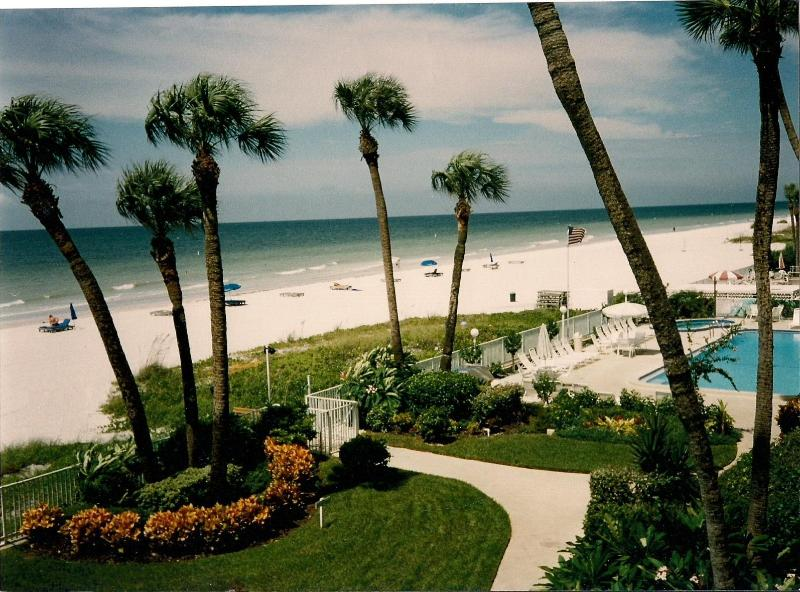 view of the beach, pool and garden - Ocean Front condo in Indian Shores/Clearwater - Indian Shores - rentals