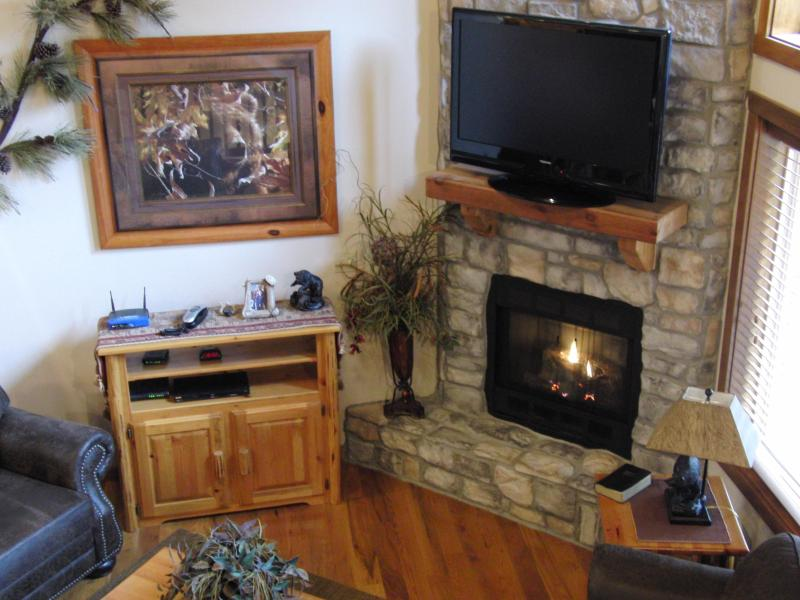 Stone Gas Fireplace with Vaulted Ceilings - 6 BR 6 BA Cabin Sleeps 22 People!!! - Branson - rentals