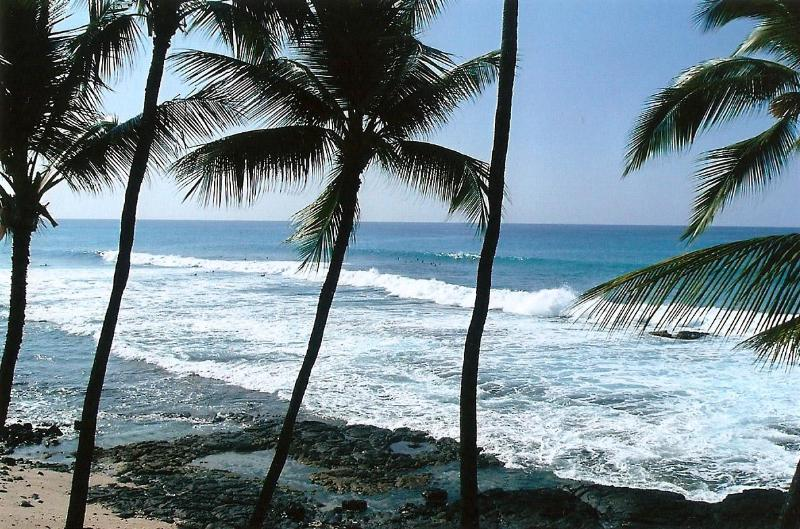 Lanai view of ocean and surfers - Embrace The Ocean--Oceanfront Condo - Kailua-Kona - rentals