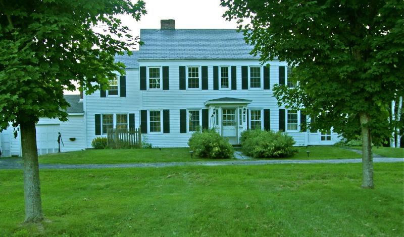 The front lawn and Historic Colonial Johnson's On Bomoseen home sited on the original1800's foundation. - Hist. Lake Bomoseen Home,22+Acres, Pvt Waterfront - Lake Bomoseen - rentals