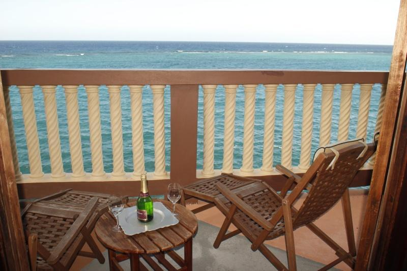 Private 40ft Terrace with Panoramic Sea View, opens from Master bedroom - Beautiful 2 or 3 bd/m Oceanfront Villa near O/Rios - Ocho Rios - rentals