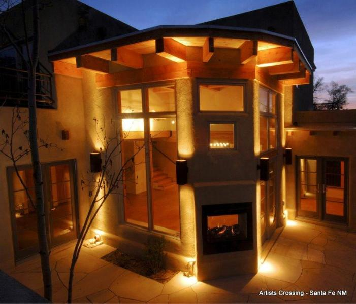 Flagstone patio surrounds Great Room - The Artists Retreat - 3BR/3.5BA High Style - WiFi - Santa Fe - rentals