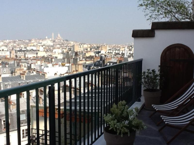 view from the terrasse on a sunny day - Luxury designer 1BR flat with Terrasse  360° view - Paris - rentals