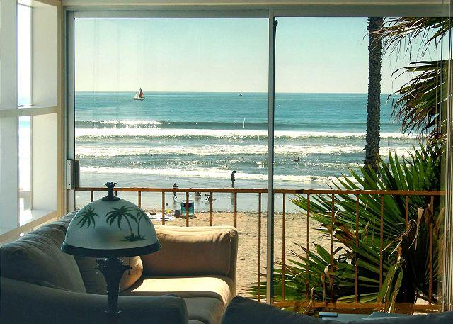 Ocean view from the living room - Beachfront Condo on the Strand S207-1 - Oceanside - rentals