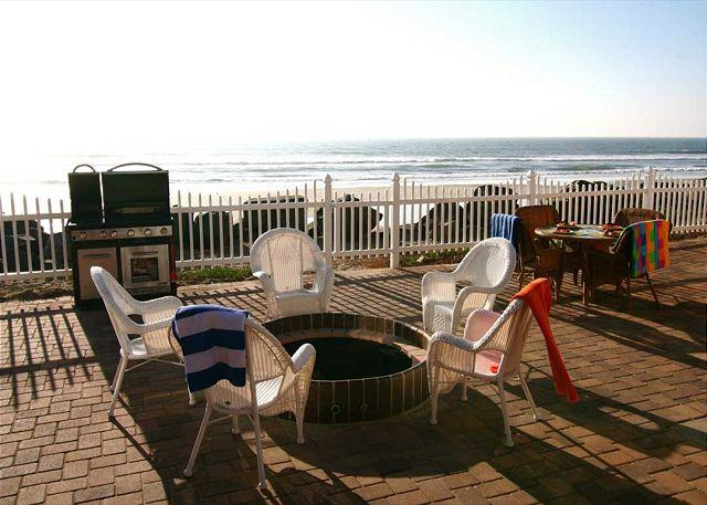 Common patio area with gas firepit - Wonderful Oceanfront Beach Rental P718-1 - Oceanside - rentals