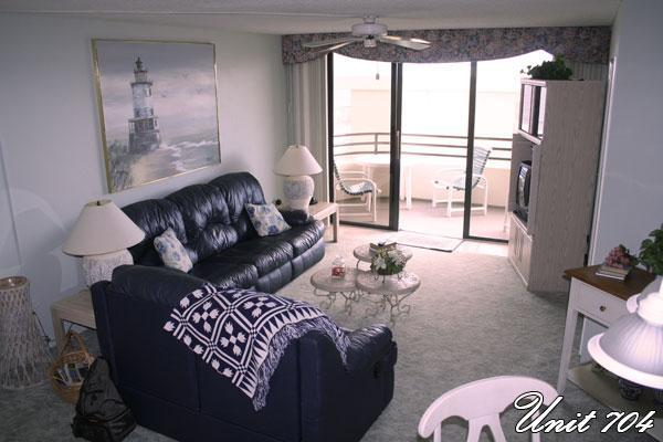 Looking out from kitchen to deck - Luxurious  2 bedroom Condo directly on the Beach - Daytona Beach Shores - rentals
