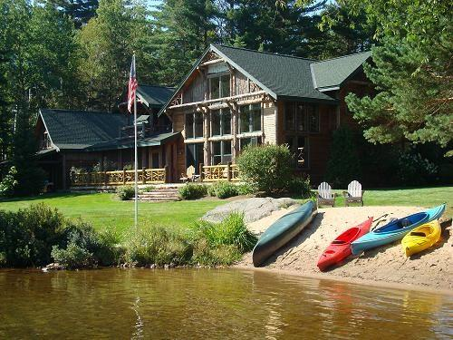 Back view of Camp Wildlife from Mirror Lake - Camp Wildlife - Luxury Waterfront home on Mirror Lake - Lake Placid - rentals