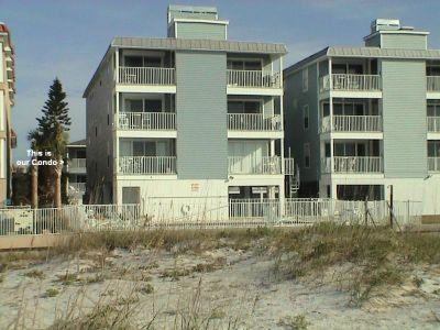 Sea Isle from the Beach (Our condo is marked by the arrow) - Luxury Gulf Coast Condo Indian Rocks Beach Fl. - Indian Rocks Beach - rentals