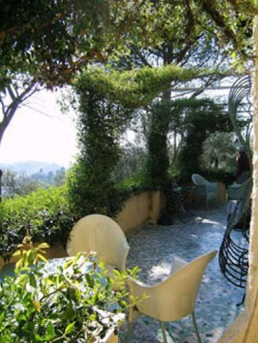 "terrace with panoramic view and jasmine pergola- equipped with tables, chairs, umbrellas  - ""MUTINO"" countryhouse x9, hills Lucca/Viareggio - Magliano in Toscana - rentals"