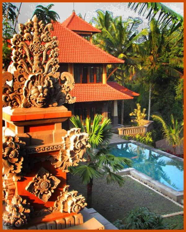 The house and pool from the ceremonial temple - Dramatic Secluded Luxury Villa Minutes from Ubud - Ubud - rentals