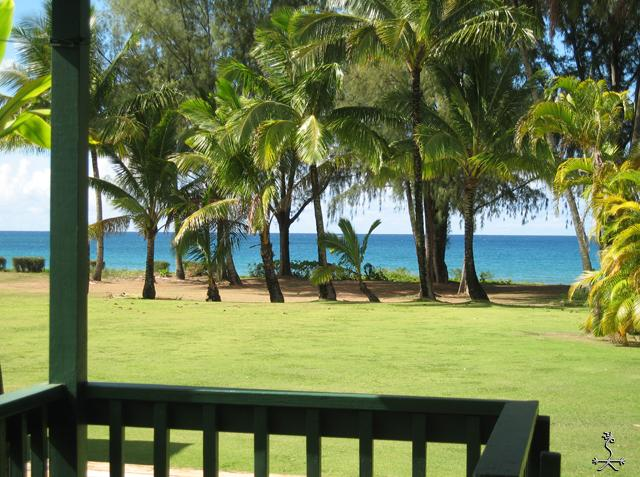 From your lanai, across the grass, to the sand. - Old Style Beach House - Hanalei - rentals