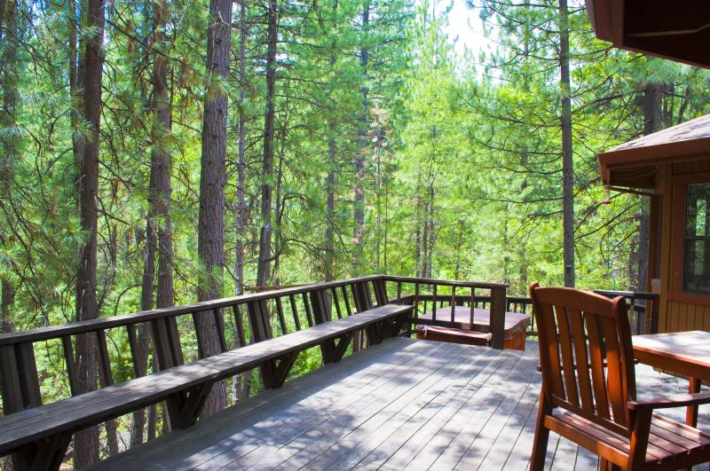 Wrap-Around Deck with BBQ & Jacuzzi Spa; view of seasonal creek, pine trees and private backyard - Retreat, Relax, Renew at SIERRA ZEN Cabin, Arnold - Arnold - rentals