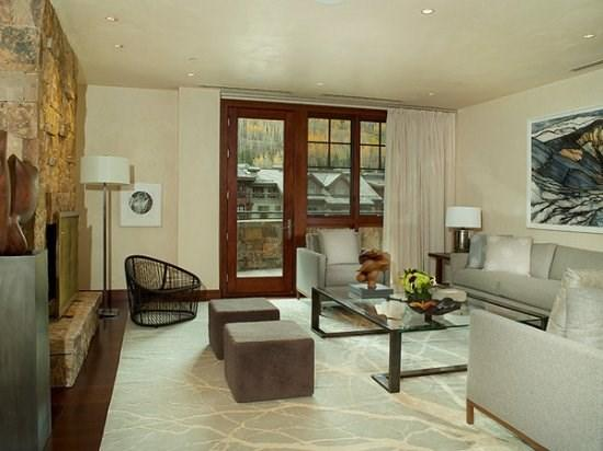 Living room with fireplace and private deck - Solaris 3 Bedroom Premium - Vail - rentals