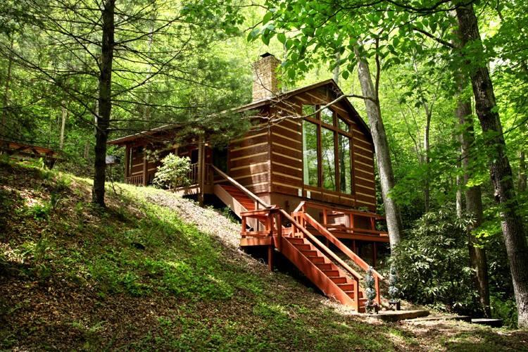 Rushing Waters Cabin-Back Entrance - Rushing Waters Cabin-Romantic Waterfall Cabin - Gatlinburg - rentals
